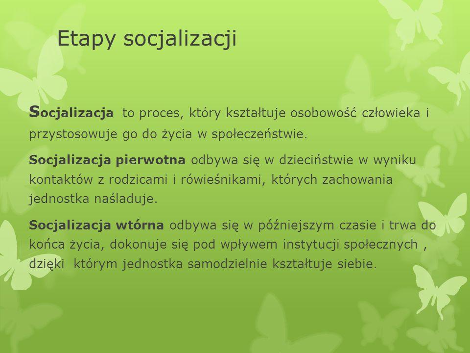 Etapy socjalizacji S ocjalizacja to proces, który kształtuje osobowość człowieka i przystosowuje go do życia w społeczeństwie.