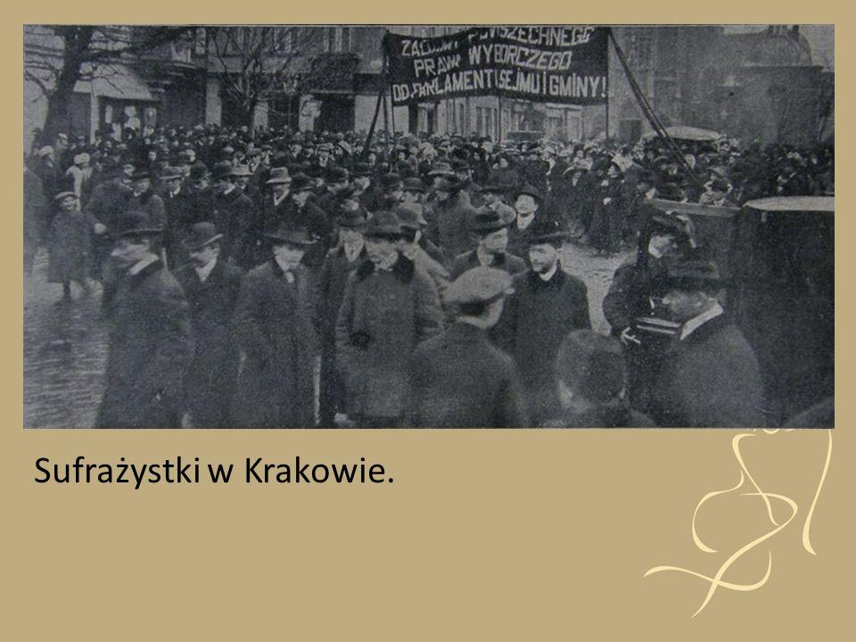 Ruch sufrażystek dążył do przyznania pełnych lub częściowych praw wyborczych kobietom. Parada sufrażystek w Nowym Jorku rok 1912 Brytyjska sufrażystka