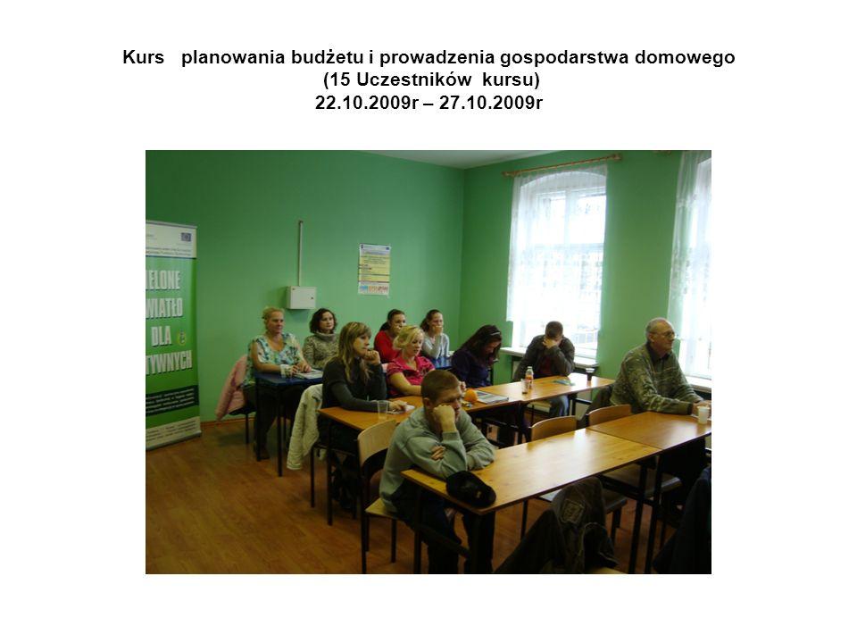 Kurs planowania budżetu i prowadzenia gospodarstwa domowego (15 Uczestników kursu) 22.10.2009r – 27.10.2009r