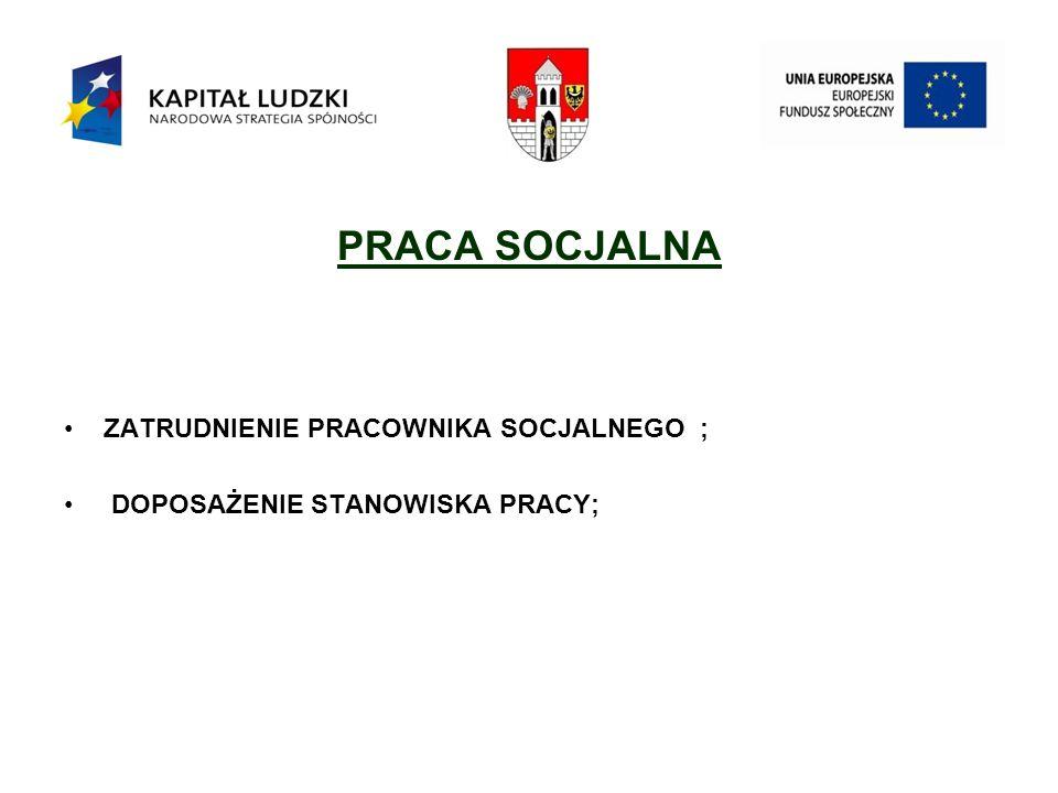 PRACA SOCJALNA ZATRUDNIENIE PRACOWNIKA SOCJALNEGO ; DOPOSAŻENIE STANOWISKA PRACY;