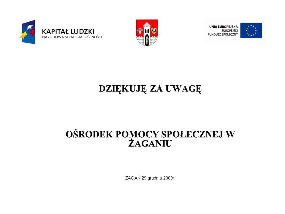 DZIĘKUJĘ ZA UWAGĘ OŚRODEK POMOCY SPOŁECZNEJ W ŻAGANIU ŻAGAŃ 29 grudnia 2009r.