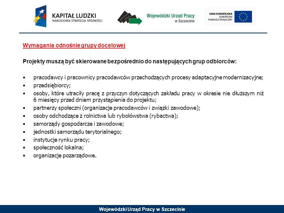 Wojewódzki Urząd Pracy w Szczecinie Wymagania odnośnie grupy docelowej Projekty muszą być skierowane bezpośrednio do następujących grup odbiorców: pracodawcy i pracownicy pracodawców przechodzących procesy adaptacyjne modernizacyjne; przedsiębiorcy; osoby, które utraciły pracę z przyczyn dotyczących zakładu pracy w okresie nie dłuższym niż 6 miesięcy przed dniem przystąpienia do projektu; partnerzy społeczni (organizacje pracodawców i związki zawodowe); osoby odchodzące z rolnictwa lub rybołówstwa (rybactwa); samorządy gospodarcze i zawodowe; jednostki samorządu terytorialnego; instytucje rynku pracy; społeczność lokalna; organizacje pozarządowe.