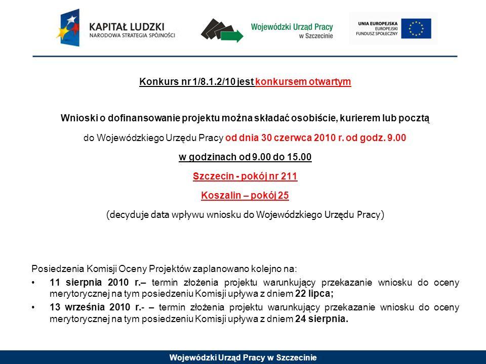 Wojewódzki Urząd Pracy w Szczecinie Konkurs nr 1/8.1.2/10 jest konkursem otwartym Wnioski o dofinansowanie projektu można składać osobiście, kurierem lub pocztą do Wojewódzkiego Urzędu Pracy od dnia 30 czerwca 2010 r.