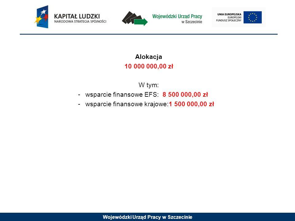 Wojewódzki Urząd Pracy w Szczecinie Alokacja 10 000 000,00 zł W tym: -wsparcie finansowe EFS: 8 500 000,00 zł -wsparcie finansowe krajowe:1 500 000,00 zł