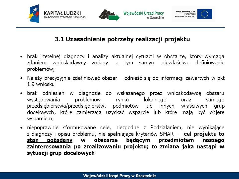 Wojewódzki Urząd Pracy w Szczecinie 3.1 Uzasadnienie potrzeby realizacji projektu brak rzetelnej diagnozy i analizy aktualnej sytuacji w obszarze, który wymaga zdaniem wnioskodawcy zmiany, a tym samym niewłaściwe definiowanie problemów; Należy precyzyjnie zdefiniować obszar – odnieść się do informacji zawartych w pkt 1.9 wniosku brak odniesień w diagnozie do wskazanego przez wnioskodawcę obszaru występowania problemów rynku lokalnego oraz samego przedsiębiorstwa/przedsiębiorstw, podmiotów lub innych właściwych grup docelowych, które zamierzają uzyskać wsparcie lub które mają być objęte wsparciem; niepoprawnie sformułowane cele, niezgodne z Podziałaniem, nie wynikające z diagnozy i opisu problemu, nie spełniające kryteriów SMART – cel projektu to stan pożądany w obszarze będącym przedmiotem naszego zainteresowania po zrealizowaniu projektu; to zmiana jaka nastąpi w sytuacji grup docelowych