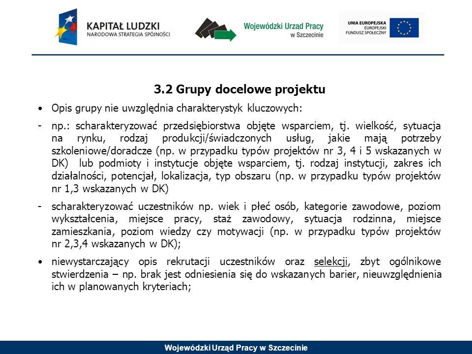 Wojewódzki Urząd Pracy w Szczecinie 3.2 Grupy docelowe projektu Opis grupy nie uwzględnia charakterystyk kluczowych: -np.: scharakteryzować przedsiębiorstwa objęte wsparciem, tj.