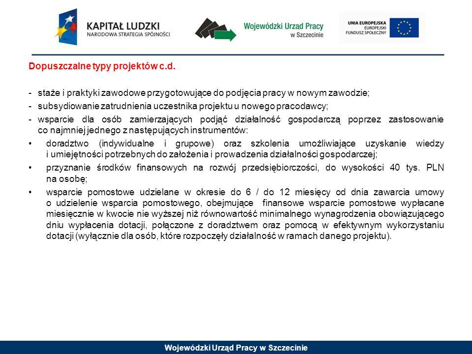 Wojewódzki Urząd Pracy w Szczecinie Najczęściej popełniane błędy formalne i merytoryczne