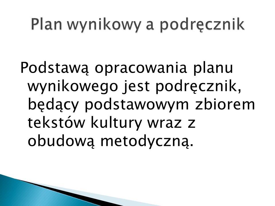 Podstawą opracowania planu wynikowego jest podręcznik, będący podstawowym zbiorem tekstów kultury wraz z obudową metodyczną.
