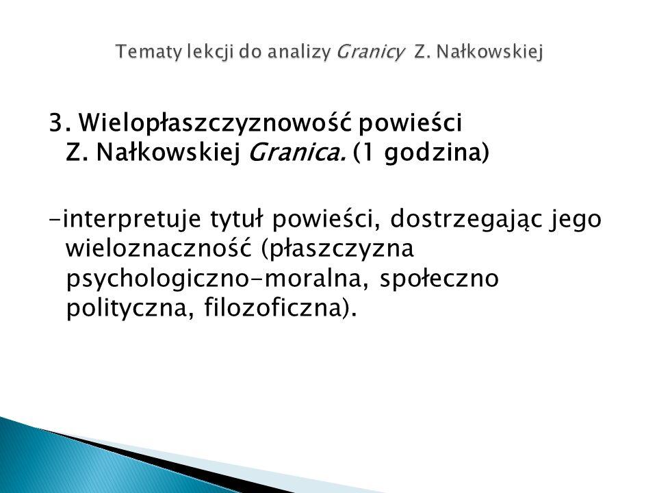 3. Wielopłaszczyznowość powieści Z. Nałkowskiej Granica. (1 godzina) -interpretuje tytuł powieści, dostrzegając jego wieloznaczność (płaszczyzna psych