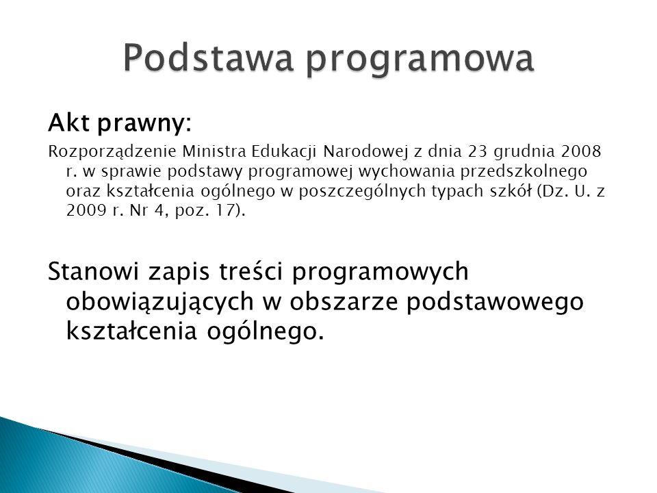 Akt prawny: Rozporządzenie Ministra Edukacji Narodowej z dnia 23 grudnia 2008 r. w sprawie podstawy programowej wychowania przedszkolnego oraz kształc