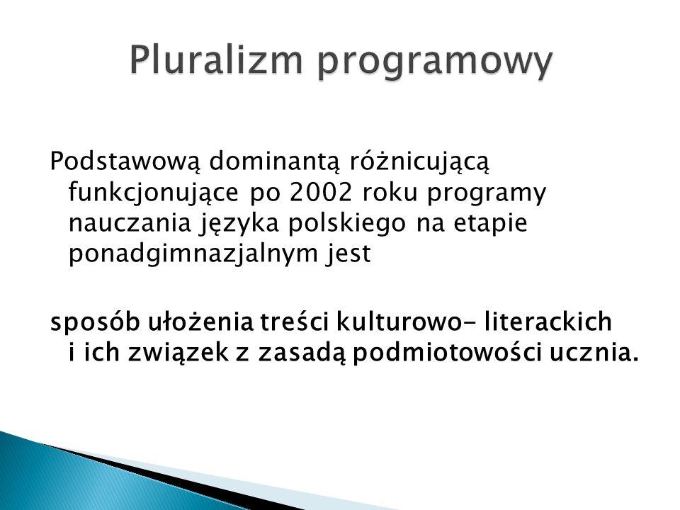 Podstawową dominantą różnicującą funkcjonujące po 2002 roku programy nauczania języka polskiego na etapie ponadgimnazjalnym jest sposób ułożenia treśc