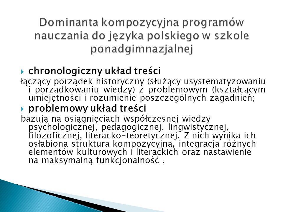 chronologiczny układ treści łączący porządek historyczny (służący usystematyzowaniu i porządkowaniu wiedzy) z problemowym (kształcącym umiejętności i