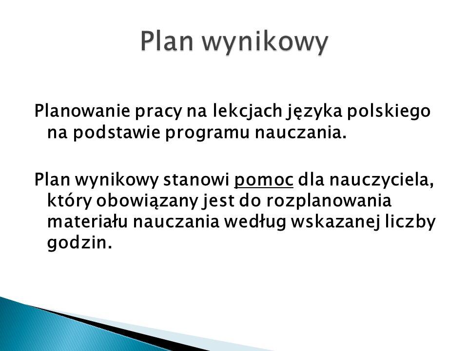 Planowanie pracy na lekcjach języka polskiego na podstawie programu nauczania. Plan wynikowy stanowi pomoc dla nauczyciela, który obowiązany jest do r