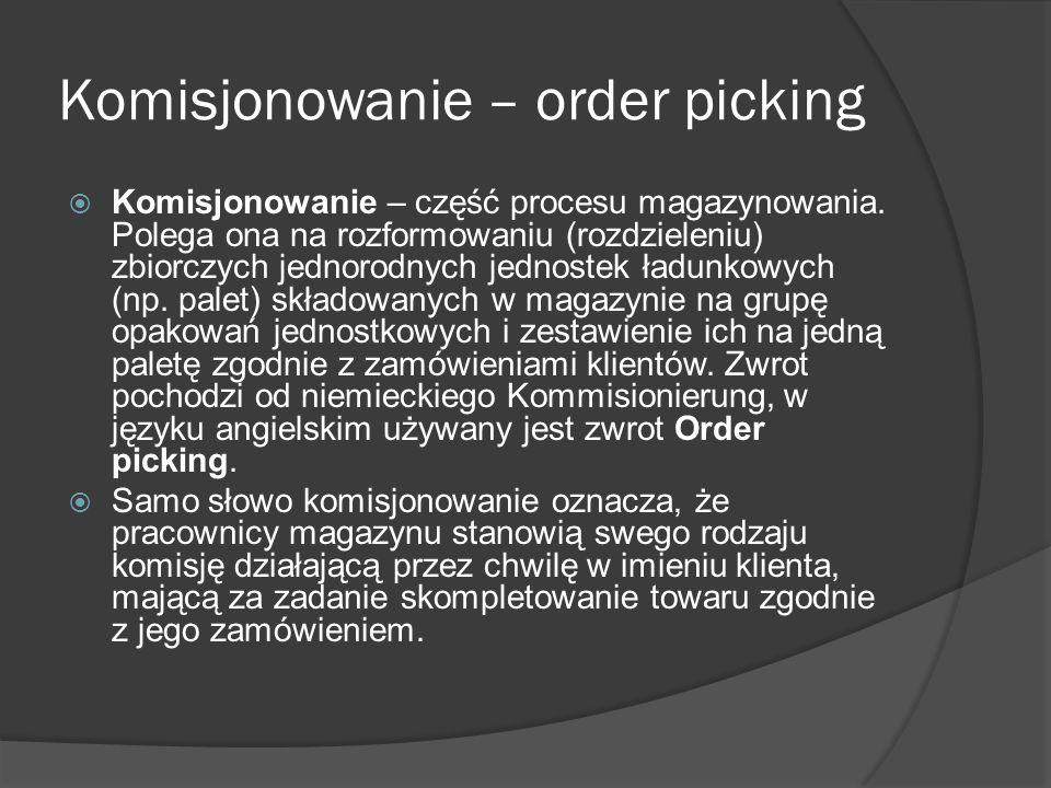 Komisjonowanie – order picking Komisjonowanie – część procesu magazynowania. Polega ona na rozformowaniu (rozdzieleniu) zbiorczych jednorodnych jednos