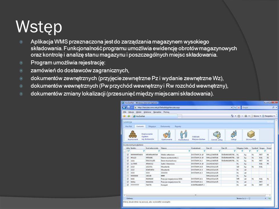 Wstęp Aplikacja WMS przeznaczona jest do zarządzania magazynem wysokiego składowania. Funkcjonalność programu umożliwia ewidencję obrotów magazynowych