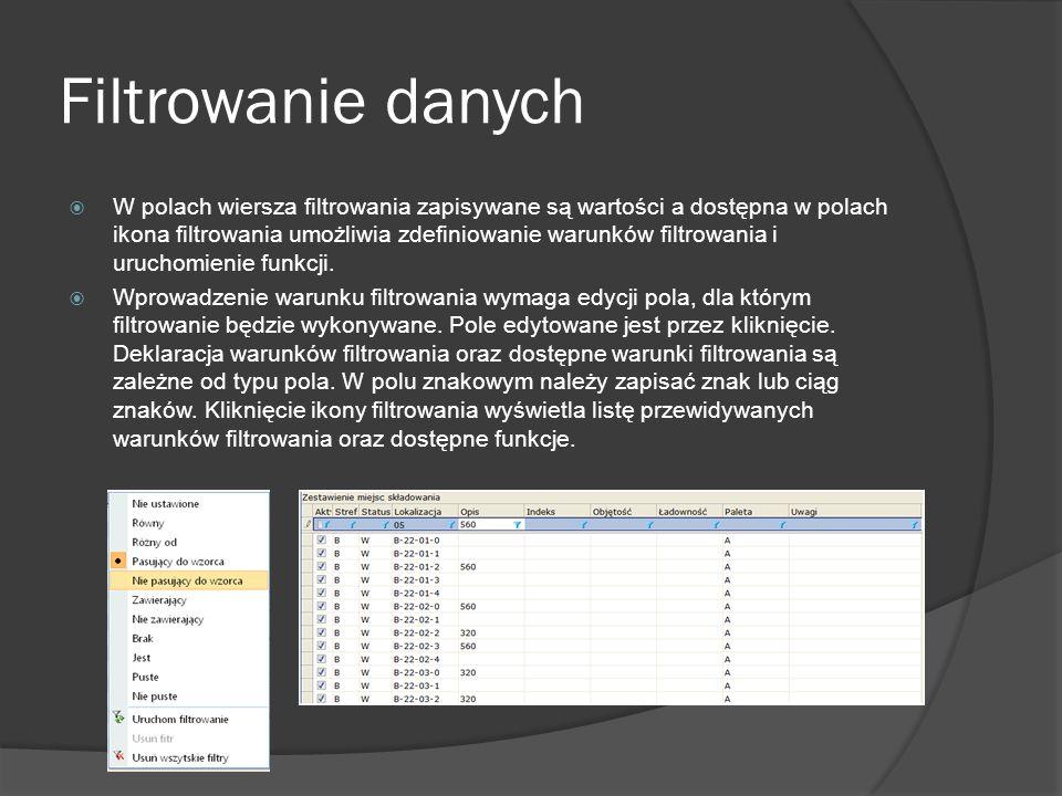 Usuwanie pozycji listy Program posiada funkcje usuwania jest aktywna w kartotekach i zestawieniach dokumentów, w których przewidziano udostępnienie funkcji.