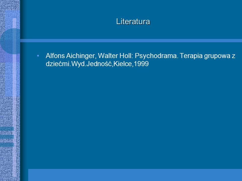 Literatura Alfons Aichinger, Walter Holl: Psychodrama. Terapia grupowa z dziećmi.Wyd.Jedność,Kielce,1999
