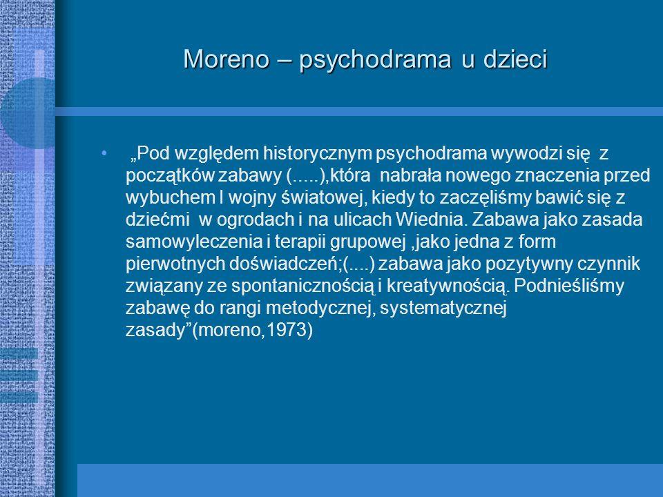 Moreno – psychodrama u dzieci Pod względem historycznym psychodrama wywodzi się z początków zabawy (.....),która nabrała nowego znaczenia przed wybuch