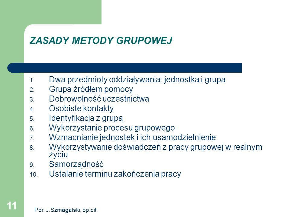 11 ZASADY METODY GRUPOWEJ 1. Dwa przedmioty oddziaływania: jednostka i grupa 2. Grupa źródłem pomocy 3. Dobrowolność uczestnictwa 4. Osobiste kontakty