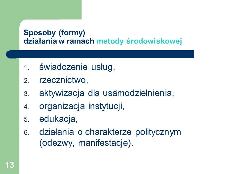 13 Sposoby (formy) działania w ramach metody środowiskowej 1. świadczenie usług, 2. rzecznictwo, 3. aktywizacja dla usamodzielnienia, 4. organizacja i