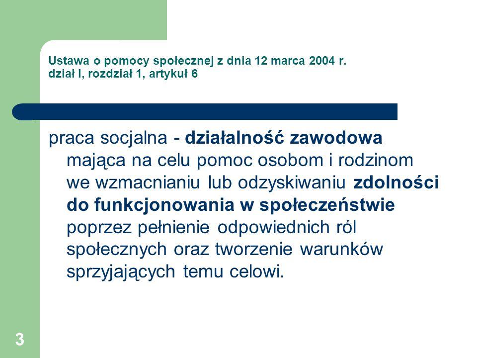 3 Ustawa o pomocy społecznej z dnia 12 marca 2004 r. dział I, rozdział 1, artykuł 6 praca socjalna - działalność zawodowa mająca na celu pomoc osobom
