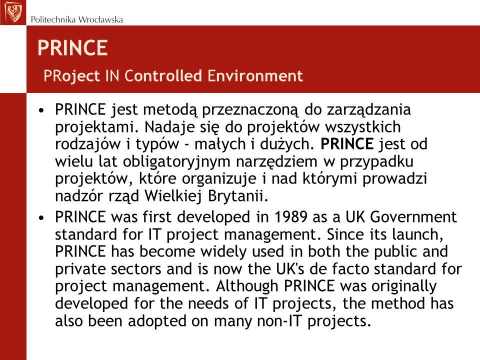PRINCE PRoject IN Controlled Environment PRINCE jest metodą przeznaczoną do zarządzania projektami.