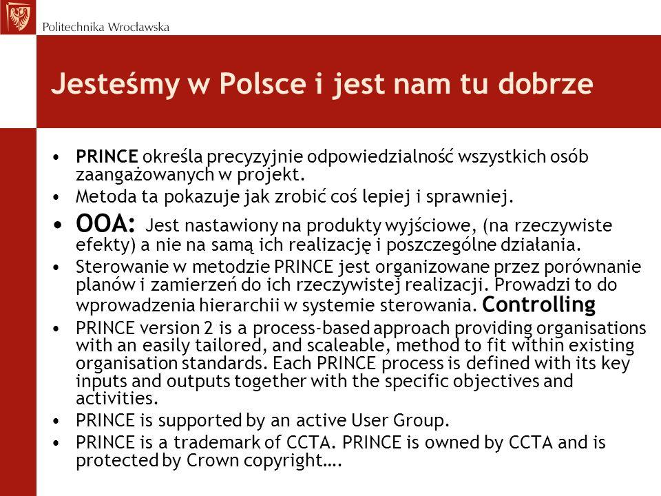 Jesteśmy w Polsce i jest nam tu dobrze PRINCE określa precyzyjnie odpowiedzialność wszystkich osób zaangażowanych w projekt.
