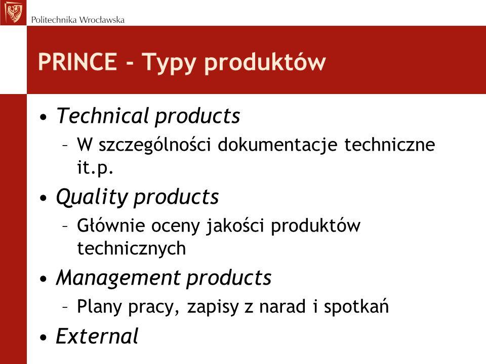 PRINCE - Typy produktów Technical products –W szczególności dokumentacje techniczne it.p.