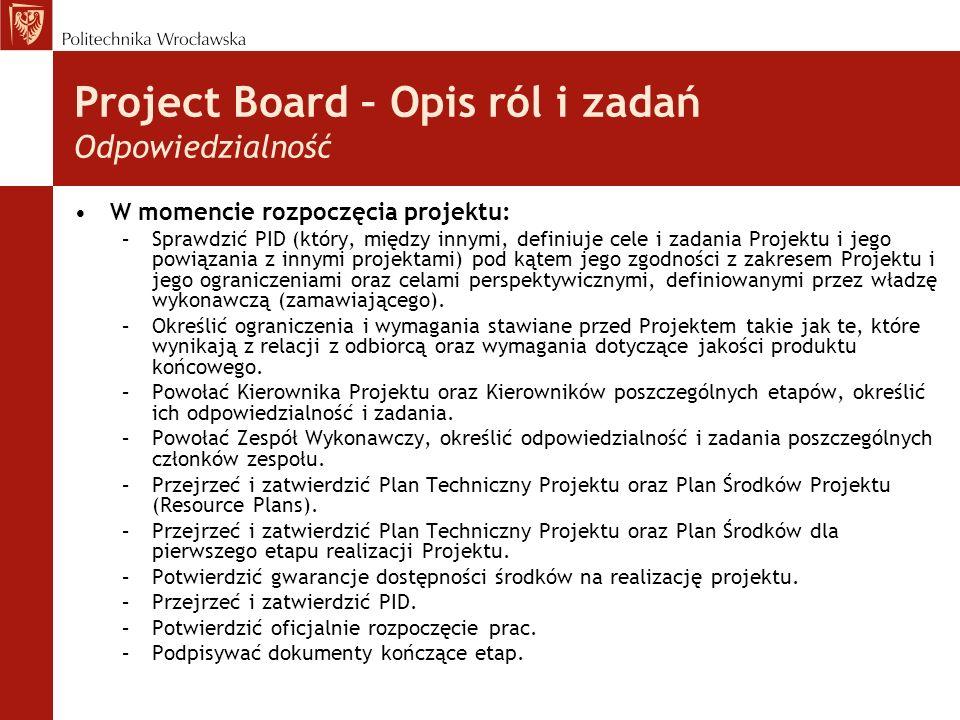 Project Board – Opis ról i zadań Odpowiedzialność W momencie rozpoczęcia projektu: –Sprawdzić PID (który, między innymi, definiuje cele i zadania Projektu i jego powiązania z innymi projektami) pod kątem jego zgodności z zakresem Projektu i jego ograniczeniami oraz celami perspektywicznymi, definiowanymi przez władzę wykonawczą (zamawiającego).