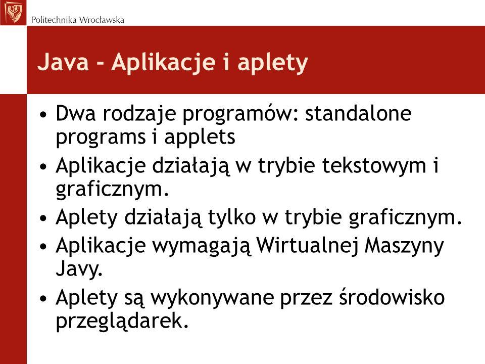 Java - Aplikacje i aplety Dwa rodzaje programów: standalone programs i applets Aplikacje działają w trybie tekstowym i graficznym.