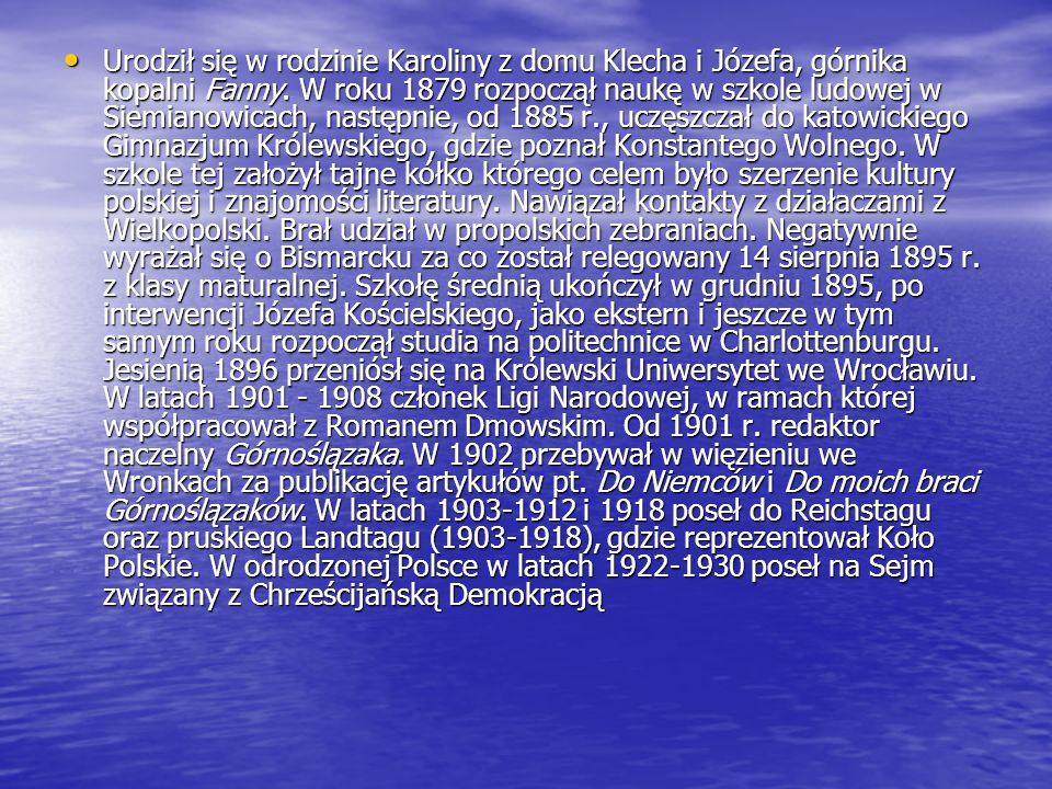 Urodził się w rodzinie Karoliny z domu Klecha i Józefa, górnika kopalni Fanny. W roku 1879 rozpoczął naukę w szkole ludowej w Siemianowicach, następni
