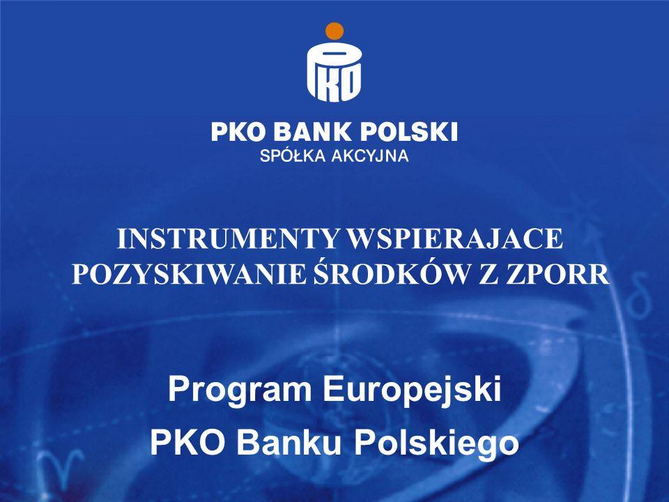 Program Europejski PKO Banku Polskiego INSTRUMENTY WSPIERAJACE POZYSKIWANIE ŚRODKÓW Z ZPORR