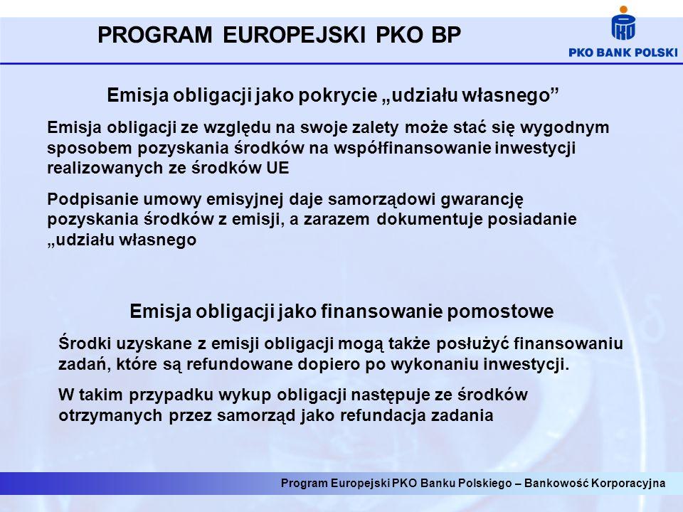 Emisja obligacji jako pokrycie udziału własnego Emisja obligacji ze względu na swoje zalety może stać się wygodnym sposobem pozyskania środków na współfinansowanie inwestycji realizowanych ze środków UE Podpisanie umowy emisyjnej daje samorządowi gwarancję pozyskania środków z emisji, a zarazem dokumentuje posiadanie udziału własnego Emisja obligacji jako finansowanie pomostowe Środki uzyskane z emisji obligacji mogą także posłużyć finansowaniu zadań, które są refundowane dopiero po wykonaniu inwestycji.