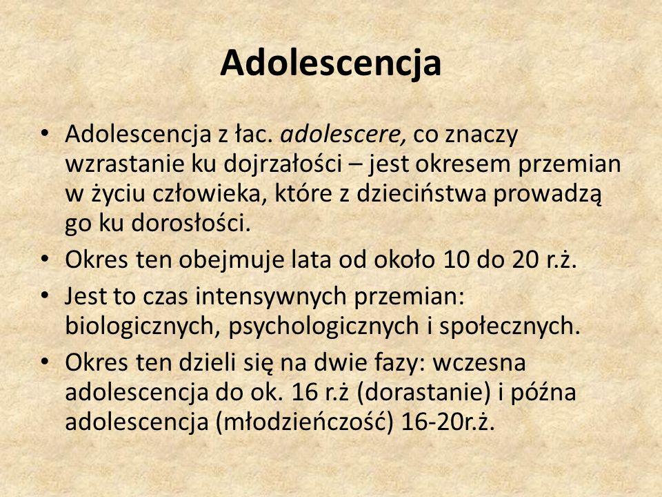 Adolescencja Adolescencja z łac. adolescere, co znaczy wzrastanie ku dojrzałości – jest okresem przemian w życiu człowieka, które z dzieciństwa prowad