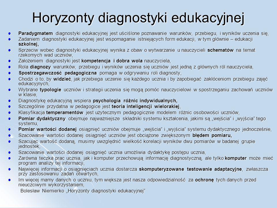 Horyzonty diagnostyki edukacyjnej Paradygmatem diagnostyki edukacyjnej jest uściślone poznawanie warunków, przebiegu, i wyników uczenia się, Paradygma