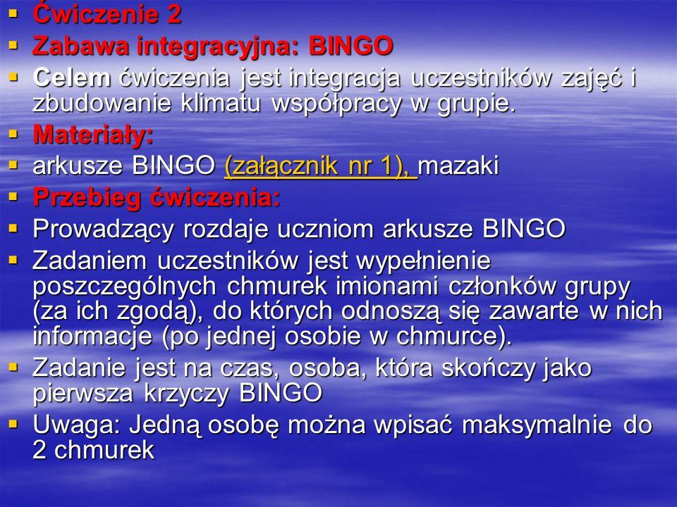 Ćwiczenie 2 Ćwiczenie 2 Zabawa integracyjna: BINGO Zabawa integracyjna: BINGO Celem ćwiczenia jest integracja uczestników zajęć i zbudowanie klimatu współpracy w grupie.