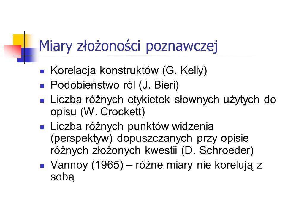 Miary złożoności poznawczej Korelacja konstruktów (G. Kelly) Podobieństwo ról (J. Bieri) Liczba różnych etykietek słownych użytych do opisu (W. Crocke