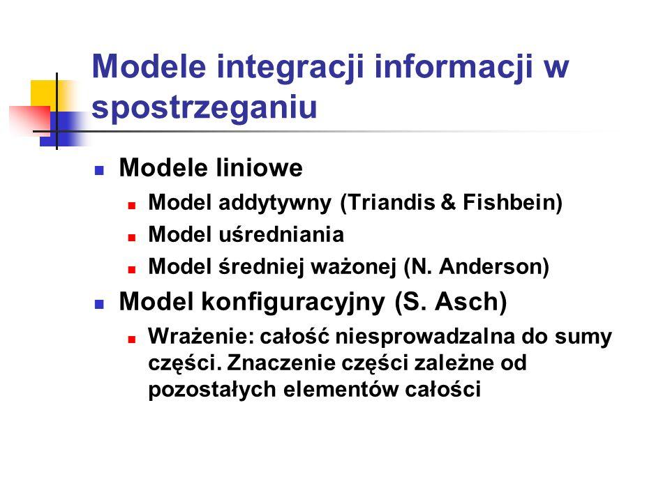 Modele integracji informacji w spostrzeganiu Modele liniowe Model addytywny (Triandis & Fishbein) Model uśredniania Model średniej ważonej (N. Anderso