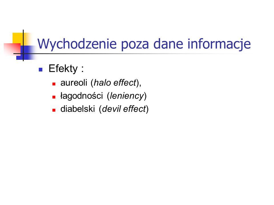Wychodzenie poza dane informacje Efekty : aureoli (halo effect), łagodności (leniency) diabelski (devil effect)