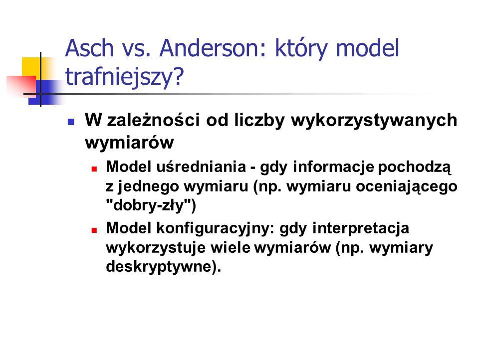Asch vs. Anderson: który model trafniejszy? W zależności od liczby wykorzystywanych wymiarów Model uśredniania - gdy informacje pochodzą z jednego wym