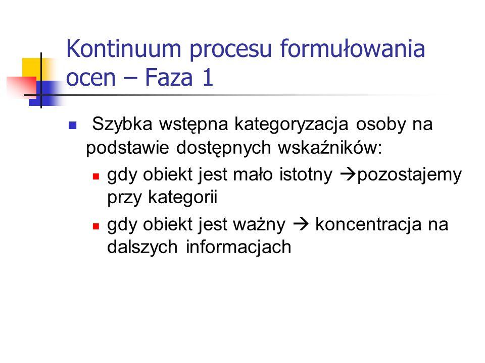 Kontinuum procesu formułowania ocen – Faza 1 Szybka wstępna kategoryzacja osoby na podstawie dostępnych wskaźników: gdy obiekt jest mało istotny pozos