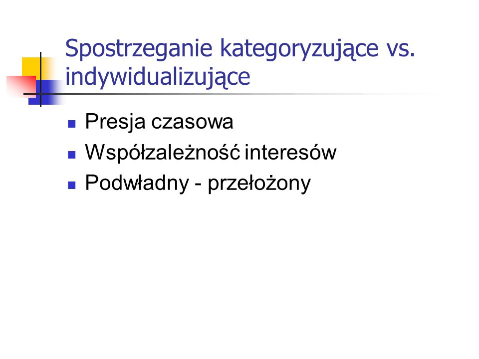 Spostrzeganie kategoryzujące vs. indywidualizujące Presja czasowa Współzależność interesów Podwładny - przełożony