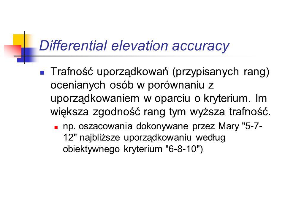 Differential elevation accuracy Trafność uporządkowań (przypisanych rang) ocenianych osób w porównaniu z uporządkowaniem w oparciu o kryterium. Im wię