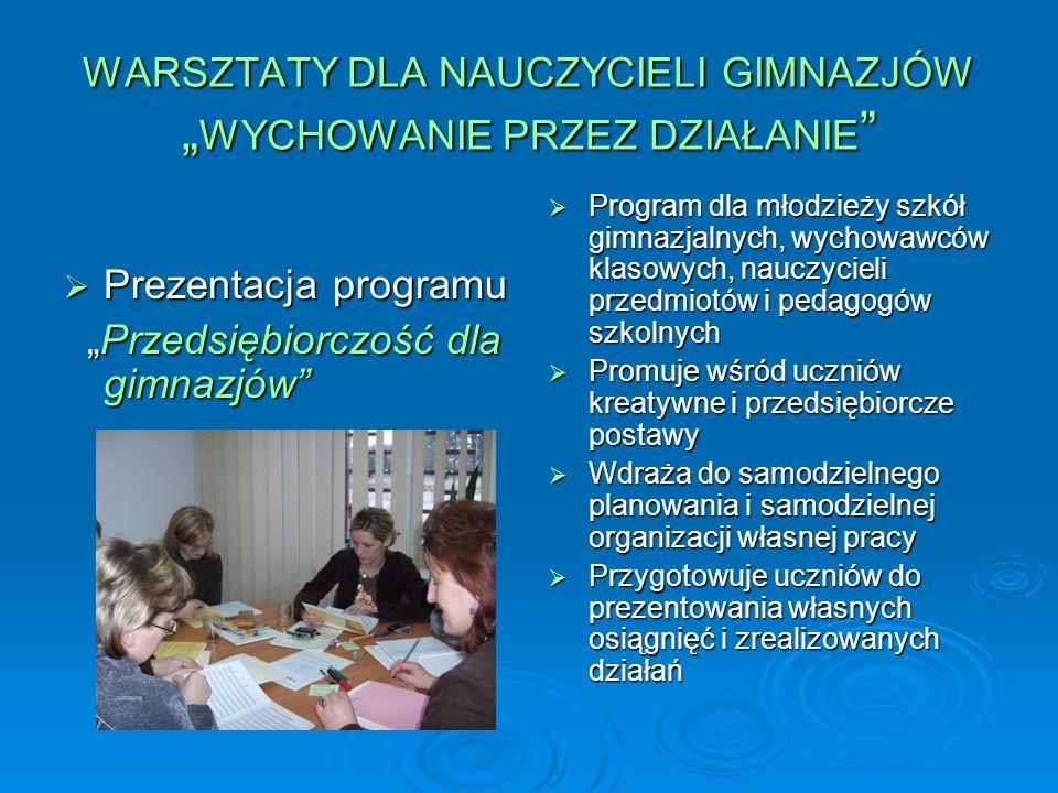 WARSZTATY DLA NAUCZYCIELI GIMNAZJÓW WYCHOWANIE PRZEZ DZIAŁANIE WARSZTATY DLA NAUCZYCIELI GIMNAZJÓW WYCHOWANIE PRZEZ DZIAŁANIE W warsztatach brali udział nauczyciele gimnazjów z powiatu bialskiego, radzyńskiego, parczewskiego, łukowskiego W warsztatach brali udział nauczyciele gimnazjów z powiatu bialskiego, radzyńskiego, parczewskiego, łukowskiego Szkoły uczestniczące w programie : Publiczne Gimnazjum nr 4 w Białej Podlaskiej, Publiczne Gimnazjum nr 1 w Jelnicy, Zespół Placówek Oświatowych Gimnazjum w Kodniu, Zespół Szkół Gimnazjum w Kobylanach, Gimnazjum w Komarówce Podlaskiej, Publiczne Gimnazjum nr 2 w Krzewicy, Gimnazjum nr 1 w Łukowie, Gimnazjum nr 3 w Łukowie, Publiczne Gimnazjum nr 1 w Piszczacu, Zespół Placówek Oświatowych Gimnazjum w Podedwórzu, Gimnazjum w Rokitnie, Zespół Szkół Gimnazjum w Sławatyczach, Publiczne Gimnazjum w Sosnówce, Zespół Szkół Podstawowych nr 1 Gimnazjum w Terespolu, Zespół Szkół Ogólnokształcących nr 1 Gimnazjum w Terespolu, Zespół Szkół Gimnazjum w Wojcieszkowie, Publiczne Gimnazjum w Zalesiu, Gimnazjum w Woli Gułowskiej, Gimnazjum w Woli Osowińskiej Szkoły uczestniczące w programie : Publiczne Gimnazjum nr 4 w Białej Podlaskiej, Publiczne Gimnazjum nr 1 w Jelnicy, Zespół Placówek Oświatowych Gimnazjum w Kodniu, Zespół Szkół Gimnazjum w Kobylanach, Gimnazjum w Komarówce Podlaskiej, Publiczne Gimnazjum nr 2 w Krzewicy, Gimnazjum nr 1 w Łukowie, Gimnazjum nr 3 w Łukowie, Publiczne Gimnazjum nr 1 w Piszczacu, Zespół Placówek Oświatowych Gimnazjum w Podedwórzu, Gimnazjum w Rokitnie, Zespół Szkół Gimnazjum w Sławatyczach, Publiczne Gimnazjum w Sosnówce, Zespół Szkół Podstawowych nr 1 Gimnazjum w Terespolu, Zespół Szkół Ogólnokształcących nr 1 Gimnazjum w Terespolu, Zespół Szkół Gimnazjum w Wojcieszkowie, Publiczne Gimnazjum w Zalesiu, Gimnazjum w Woli Gułowskiej, Gimnazjum w Woli Osowińskiej