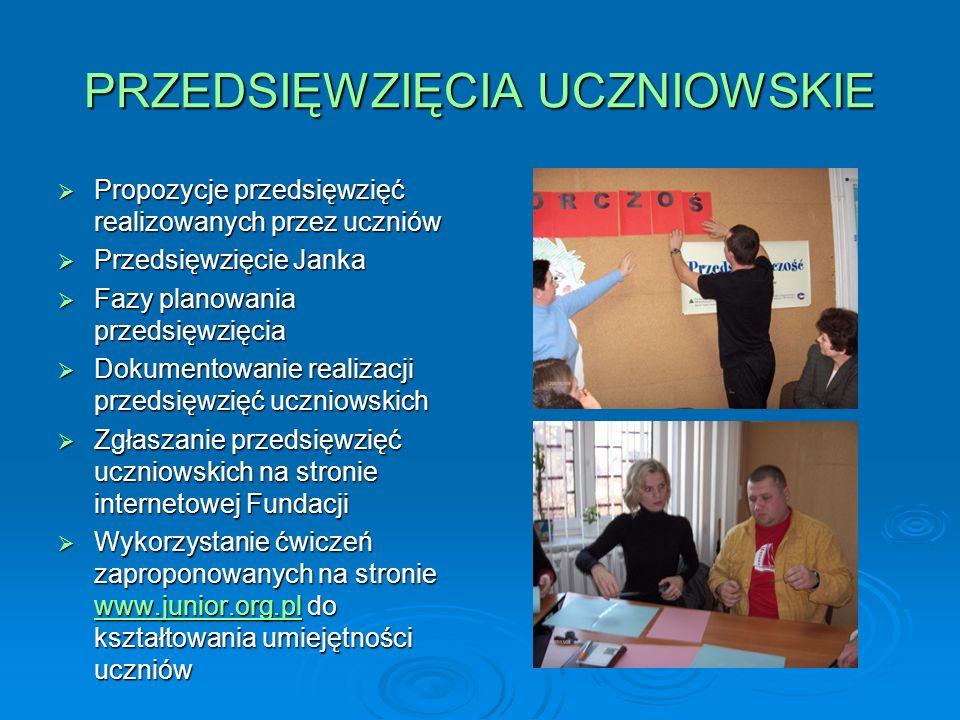 PRZEDSIĘWZIĘCIA UCZNIOWSKIE Propozycje przedsięwzięć realizowanych przez uczniów Propozycje przedsięwzięć realizowanych przez uczniów Przedsięwzięcie