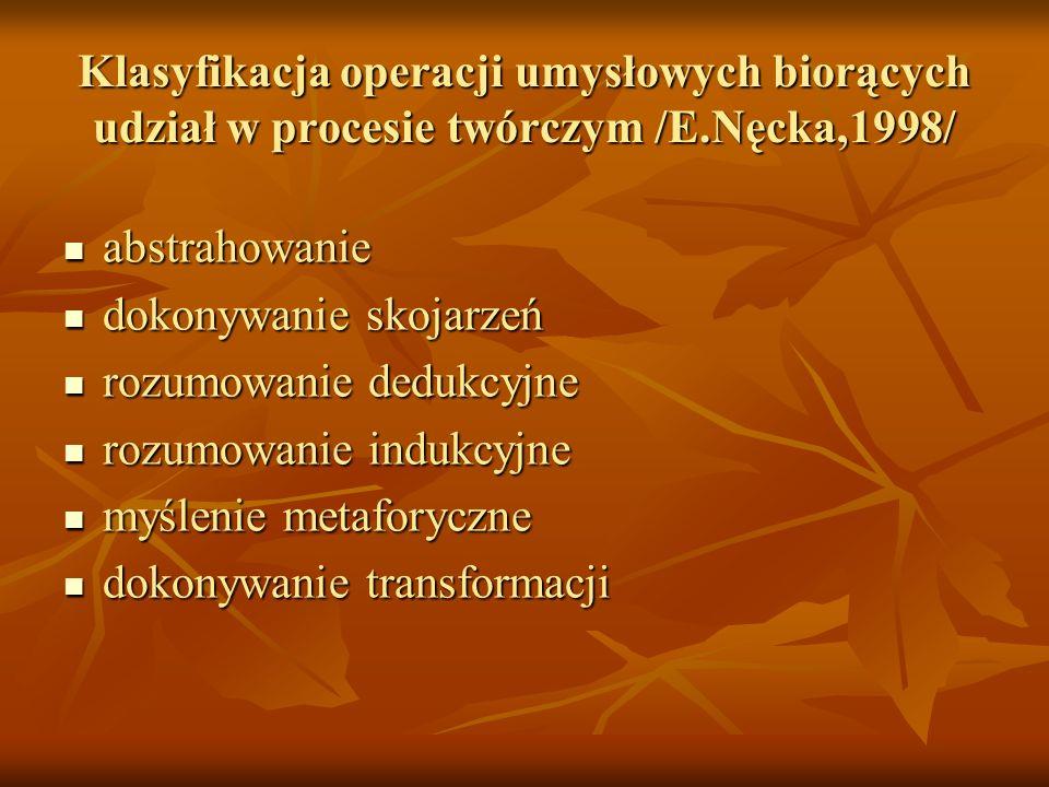 Klasyfikacja operacji umysłowych biorących udział w procesie twórczym /E.Nęcka,1998/ abstrahowanie abstrahowanie dokonywanie skojarzeń dokonywanie sko