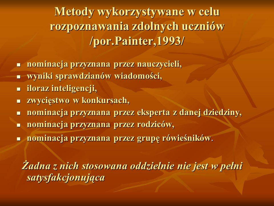 Metody wykorzystywane w celu rozpoznawania zdolnych uczniów /por.Painter,1993/ nominacja przyznana przez nauczycieli, nominacja przyznana przez nauczy