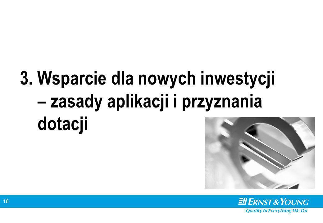 16 3. Wsparcie dla nowych inwestycji – zasady aplikacji i przyznania dotacji