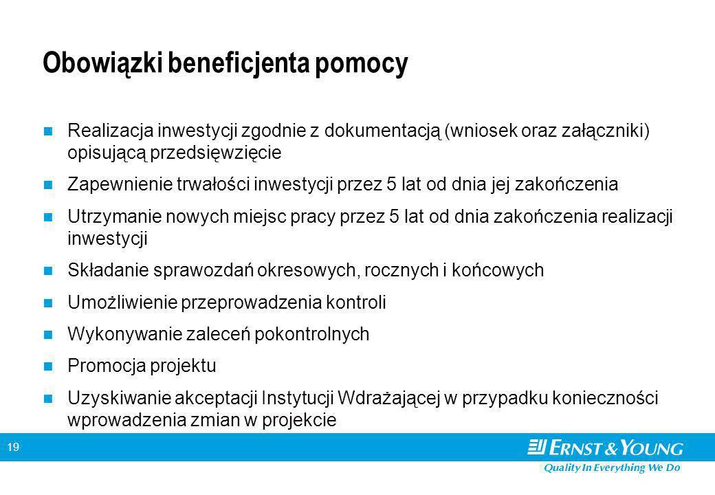 19 Obowiązki beneficjenta pomocy Realizacja inwestycji zgodnie z dokumentacją (wniosek oraz załączniki) opisującą przedsięwzięcie Zapewnienie trwałości inwestycji przez 5 lat od dnia jej zakończenia Utrzymanie nowych miejsc pracy przez 5 lat od dnia zakończenia realizacji inwestycji Składanie sprawozdań okresowych, rocznych i końcowych Umożliwienie przeprowadzenia kontroli Wykonywanie zaleceń pokontrolnych Promocja projektu Uzyskiwanie akceptacji Instytucji Wdrażającej w przypadku konieczności wprowadzenia zmian w projekcie