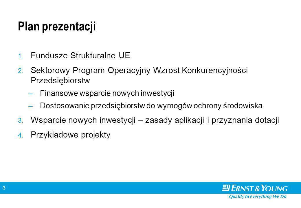 3 Plan prezentacji 1. Fundusze Strukturalne UE 2. Sektorowy Program Operacyjny Wzrost Konkurencyjności Przedsiębiorstw –Finansowe wsparcie nowych inwe